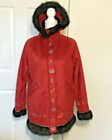 Ameri Mode Women's Coat - Size S - Red Alaskan Animal Design Faux Fur Trim Hood