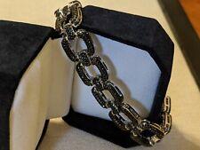 Black Spinel Rhodium Over Sterling Silver Link Bracelet 7.50ctw