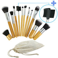 12 PCS Makeup Brush Set Cosmetic Brushes Make up Kit + Pouch Bag Wood