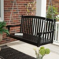Traditional Country Black Hardwood Slatted Patio Porch Swing 4 Foot or 5 Foot