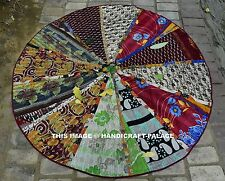 Vintage Kantha Quilt Round Hippie Tapestry Beach Picnic Throw Patchwork Blanket