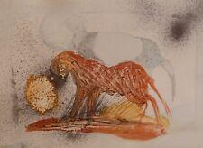 LE CHAT ROUX dessin original peinture aquarelle cadeau art Frédéric BELAUBRE