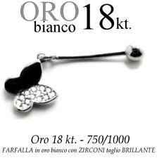 Piercing ombelico belly ORO BIANCO 18kt.pendente FARFALLA ZIRCONI GOLD butterfly