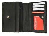 Small Black Women's Genuine Leather Card ID Money Holder Wallet W/ Coin Pockets