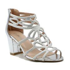 Womens Ladies Diamante Party Evening Prom Bridal Mid Block Heels Sandals Shoes