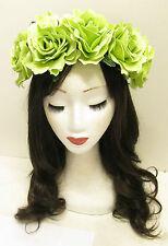 Large Green Rose Flower Hair Crown Sugar Skull Halloween Headband Big Vtg T58