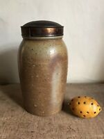 Early Antique Salt Glazed Canning Jar Crock Tin Lid Pantry Storage Patina AAFA