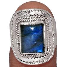 Labradorite - Madagascar 925 Sterling Silver Ring Jewelry s.6.5 AR153623