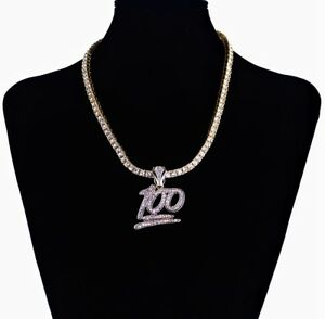 ICED 100 EMOJI LAB DIAMOND PENDANT SOLITAIRE GOLD CHAIN NECKLACE HIPHOP BLING
