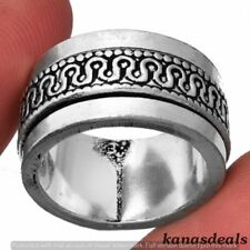 Spinner Medatation 925 Sterling Silver Plated Ring US Size 7 KR-16205