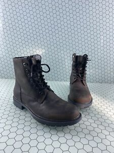 Steve Madden SMOKY Mid Calf Side Zip Lace Up Boots Brown Men's Size 10