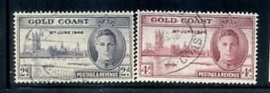 GOLD COAST 128a-29a SG133-34 Used 1946 Peace Issue set Perf 13&1/2X14 Cat$7