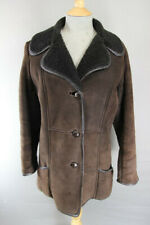 CLASSIC VINTAGE 70's LEATHER TRIMMED DARK BROWN SUEDE SHEEPSKIN LINED COAT 38 IN