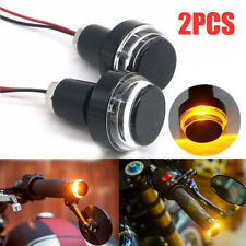 2x Motorcycle Handle Bar End LED Plug Motorbike Driving Turn Signal Strobe Light