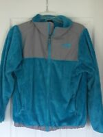 The North Face Jacket Girls size 18 XL Fuzzy Blue and Grey used zipper beautiful