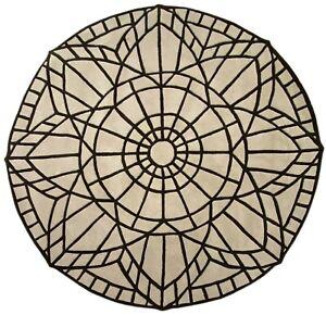 Round Rug 100% Wool Beige Hand Woven Approx. 220x220 CM Oriental Rug Modern