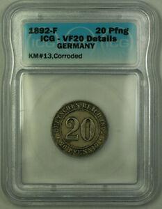 1892-F Germany 20 Pfennig Wilhelm II ICG VF-20 Details Corroded KM#13