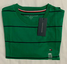 New Tommy Hilfiger Men's Short Sleeve T-Shirt Green Block Stripe Size M $21.00