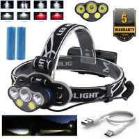 90000LM 5x XM-L T6 LED HEADLAMP HEAD LIGHT Head LAMP TORCH FLASHLIGHT WATERPROOF