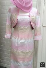 Veromia Circle Print Dress & Bolero Jacket In Pink & Silver Grey Size 8 DC168