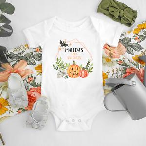 Personalised My First Halloween Baby Grow Vest Bodysuit Pumpkin Romper Sleepsuit