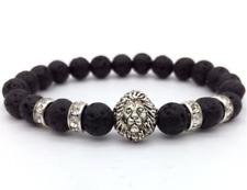 Mens Jewellery Adjustable Bracelet Vintage Lion Head Calming LAVA Stone bead MAN