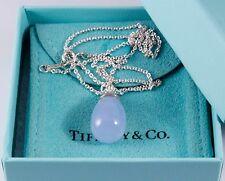 "Tiffany & Co Paloma Piccaso 20 Carat Blue Chalcedony Pendant 18"" Silver Necklace"
