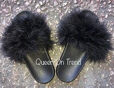 Womens Handmade Big Fluffy Fur Sliders Big Fur 3,4,5,6UK Black