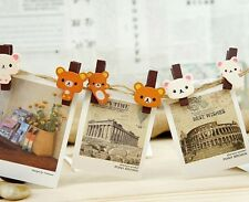 6 x Cute Rilakkuma Bear wooden pegs craft card holder photo picture hanger