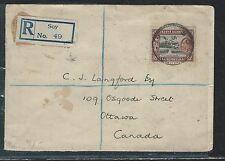 KENYA, UGANDA, TANGANYIKA (3009B) 1936 KGV 65C REG FROM SOY TO CANADA