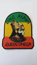 King Alpha Queen Omega Rastafari Cloth Iron-On Patch 9cm High by 7.5 cm Wide