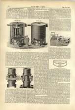 1874 Harlow brevets chaudière twibill Grattoir Irving Amortisseur Gall Mercury Regulator