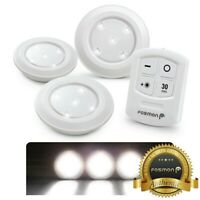 Wireless StickOn Puck LED Night Light Bright Remote Battery Under Cabinet Closet