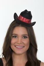 Mini Cowgirl Hat Cow Girl Costume Bandana Black Cap Country Womens Adult NEW
