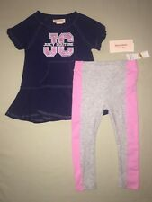 GIRLS SIZE 3 3T JUICY COUTURE RUFFLE HEM SHIRT TOP LEGGINGS OUTFIT SET NWT