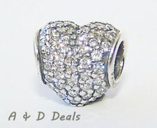 Pandora Genuine Sterling Silve Pave' Heart Charm Clear Cubic Zirconia #791052CZ