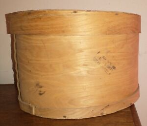"LARGE Round Wooden Cheese Box w/Lid, 15"" diameter, 10"" tall, Great Valley NY"