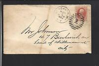 BROOKLYN,NEW YORK W,1883 2CT BANKNOTE SCARCE CANCEL ON LOCAL USE COVER.