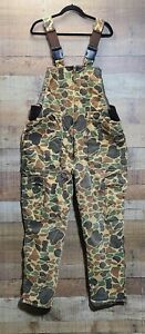 Vintage Trophy Club Insulated Duck Camo Overalls Bibs Cold Hunting Gear Large