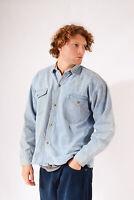Vintage Denim Shirt Light Blue Acid Wash (XL)