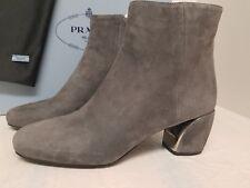 Prada Block Heel Boot (Women)  GREY SUEDE Size - 8US / 38EU
