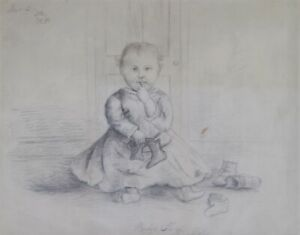 Folk Art Baby Drawing HADDONFIELD New Jersey History Woman Artist Americana 1882