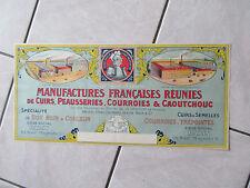 AFFICHE MANUFACTURES FRANCAISES REUNIES DE CUIR PEAUSSERIES COURROIES 1950
