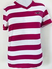 Hollister Medium Cerise Striiped T Shirt  In Great  Condition  Casual