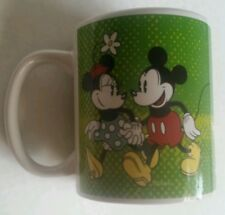 """Disney Mickey and Minnie Mouse Coffee Mug Couples  """"You and Me"""" Green Valentines"""