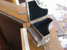 Vintage jewelry box in the form of piano, bronze, silver plated