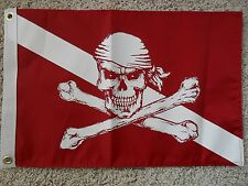 "12""X18"" PIRATE DIVER DOWN BOAT/YACHT FLAG DOUBLE SIDED NYLON"