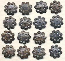 24 Real Old-Time Vintage Dark Brass Woven Textured Bead Caps 12mm