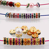 50/100Pcs Plated Czech Rondelle Crystal Rhinestone Loose Spacer Beads DIY 8mm