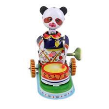 Retro Panda Bear Drummer Wind Up Tin Toy Novelty Adult Collectible Clockwork